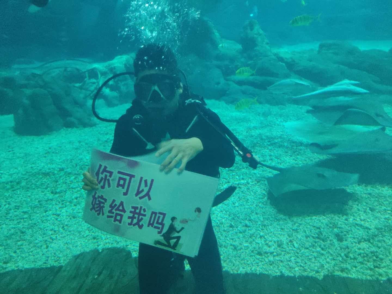 甜炸!罗源湾海洋世界上演水下浪漫求婚,这个七夕这样过!