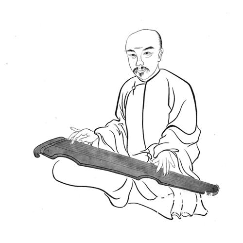 古琴弹奏图手绘