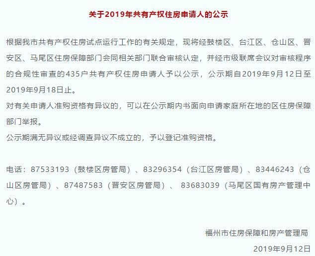 2019福州共有产权房摇号时间公布!还有准购资格公兴搬迁